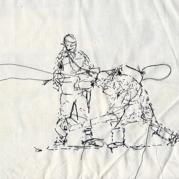 """""""See you on the other side"""". 24cm x 24cm Cotton thread on calico"""