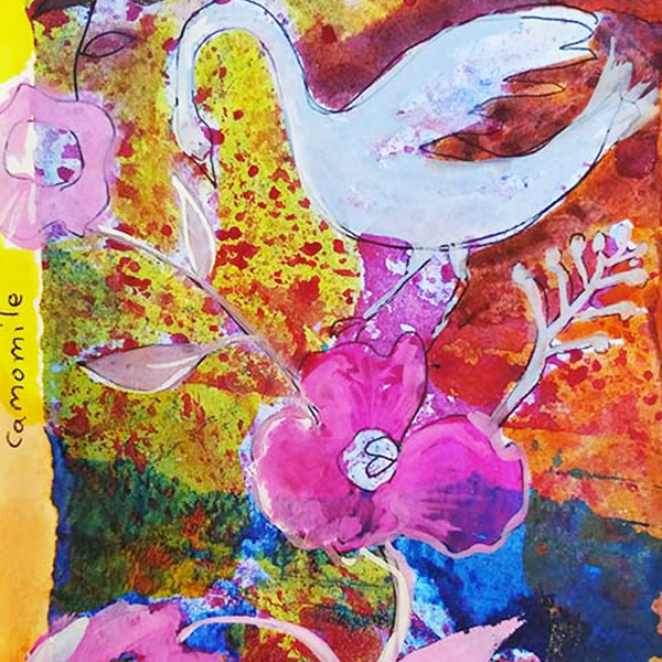 Bird and Flower.  15cm x 21cm. Watercolour and collage on paper.