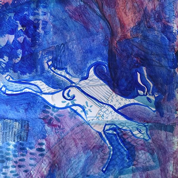 Jardin Majorelle Blue. Watercolour and collage on paper. 15cm x 21cm