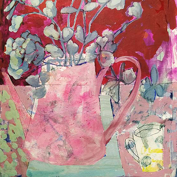 Jug by the poolside. Gouache and collage. 15cm x 21cm