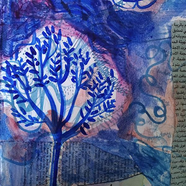 Jardin Majorelle. Watercolour and collage on paper. 15cm x 21cm